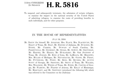 H.R.5816 - To Suspend, and Subsequently Terminate, the Admission of Certain Refugees, July 14, 2016