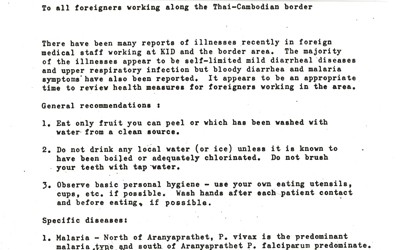 International Committee of the Red Cross Memo for Foreign Workers near Thai-Cambodian Border