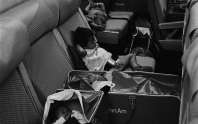 Vietnamese babies aboard an airplane bound for the U.S. as part of Operation Babylift