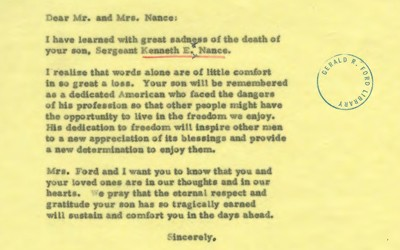 This letter is written to the parents of Kenneth E. Nance who was killed in a plane crash that was attempting to evacuate refugees from Vietnam.