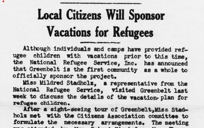 """""""Local Citizens Will Sponsor Vacations for Refugees,"""" Newspaper Article, July 3, 1940"""