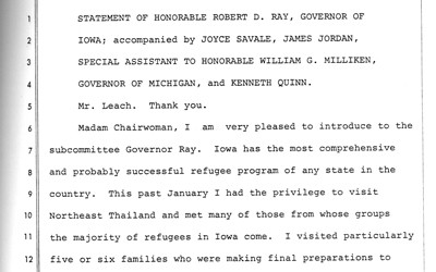 Transcription of testimony by then Governor Robert D. Ray in front of Congress.