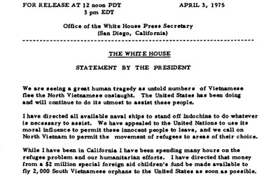 Gerald Ford's indochina report about refugees