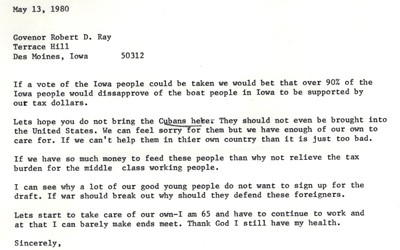 Letter from Mrs. Stuhr to Iowa Governor Robert Ray