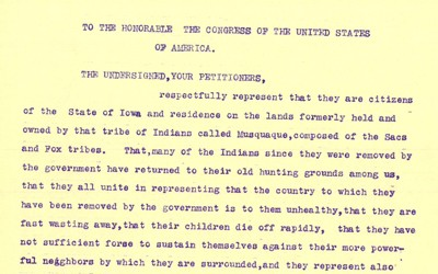 This petition was signed by the people of Marion County, Iowa asking that the Sac and Fox Indians be allowed to purchase land in Iowa.