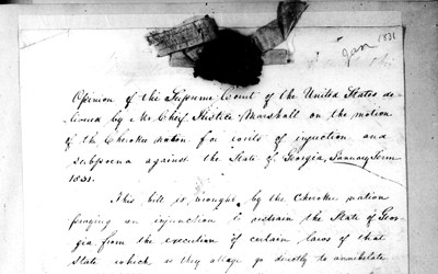 This document is the opinion of the Supreme Court delivered by John Marshall telling of the Court's decision stating that Indian tribes could not take action in the courts.