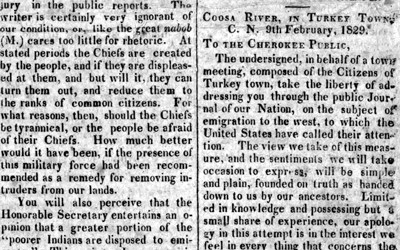 This article describing the Cherokee resistance to removal appeared in the Cherokee Phoenix.