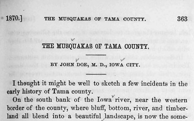 This article, published in the Annals of Iowa in 1870, gives a picture of the land in Iowa where the Meskwaki lived.