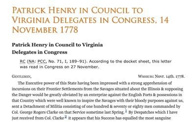 Letter from Patrick Henry to Virginia Delegates in Congress, November 14, 1778