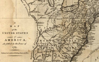This 1783 map shows the boundaries of the United States as settled by the Treaty of Paris after the Revolutionary War.
