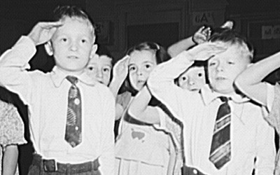 First-Graders Saluting the Flag at a Public School in New York, October 1942