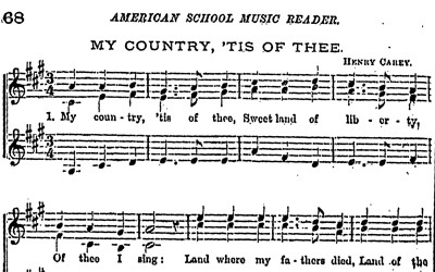 "Song sheet for ""My Country, 'Tis of Thee"""