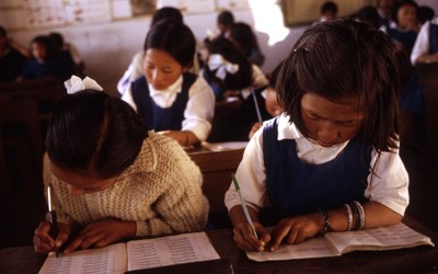 School children at the Paljor Namgyal Girls School in Sikkim, India.