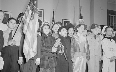 """Pledge of Allegiance"" ceremony at a New York Public School in 1943."