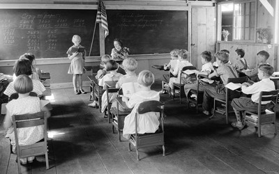 A schoolhouse in West Virginia sometime between 1935 and 1942.