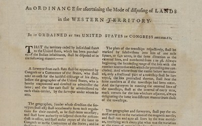 This document is the Land Ordinance of 1785 passed by the United States Congress to direct officials in the surveying and sale of lands west of the Appalachian Mountains.