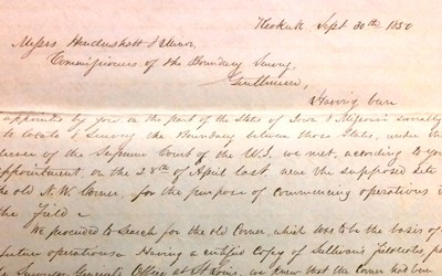 This letter was a report by surveyors commissioned to confirm the line between Missouri and Iowa in 1850.