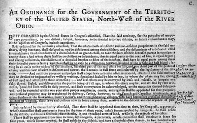 This document is an ordinance passed by the United States Congress in 1787 regarding the settlement of what was known then as the Northwest Territory.