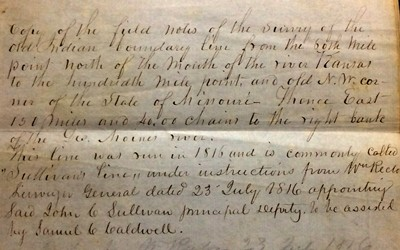 This document is the 1816 notes of surveyor John Sullivan located at the State Historical Society of Iowa.