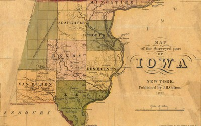 This document is a map of parts of Iowa that had been surveyed by 1839.