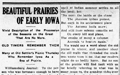 Article found in a 1911 newspaper that describes the beauty of the Iowa Prairie.