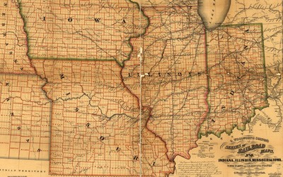 Railroad map of the American Midwest.  The map shows Indiana, Illinois, Missouri and Iowa.