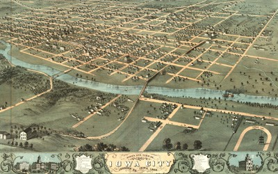 Hand drawn image of a bird's eye view of Iowa City, Iowa in Johnston County.  The image is from 1868 and shows the city next to the Iowa River.