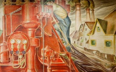 Mural located at the courthouse in Cedar Rapids Iowa depicting the Midwest region's major industries as American's moved West.