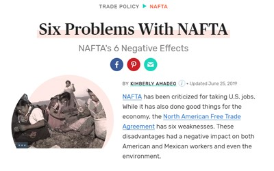 Online article from The Balance about the disadvantages of NAFTA for both the U.S. and Mexico.