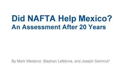 The Center for Economic and Policy Research has published a report that makes it clear that NAFTA has been a failure to the Mexican economy, farmer and worker.