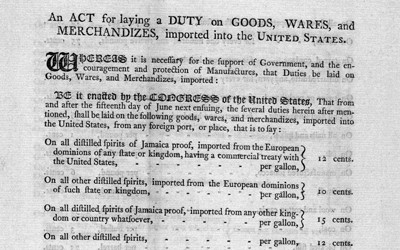 Chart from 1789 showing the tax rates on some common imports into the United States.