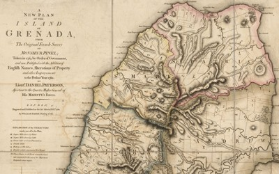 The map shows the island of Grenada and the new plan for it from the English.  Originally a colony of France, the document indicates that the island was taken by the English in 1763.  It shows a plan for growing various commodities on the island.