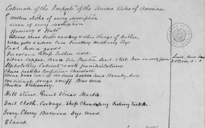 """One of three pages of a letter from Thomas Jefferson estimating imports into the United States.  Among the """"commodities"""" coming into the U.S. is slaves."""