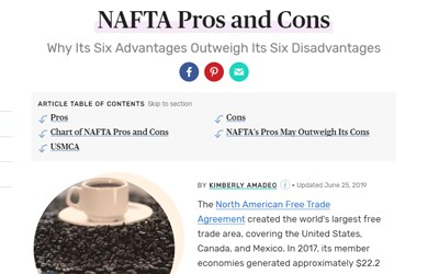"""In the document """"NAFTA's Pros and Cons: Why Its Six Advantages Outweigh Its Six Disadvantages,"""" the author presents pros & cons."""