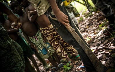Children being rescued from chocolate industry exploitation and trafficking in Côte d'Ivoire.