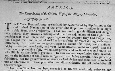 This document is a petition from Americans living west of the Allegheny Mountains in 1793 seeking help from the federal government to gain free navigation on the Mississippi River.