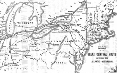 This advertisement for the Great Central railroad route in 1856 claims to save hours of travel time and uses a map to show where people can travel on this route.
