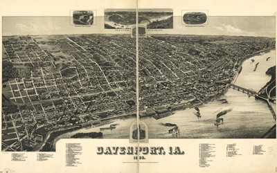 A hand-drawn, not-to-scale, bird's eye view map of Davenport, Iowa.