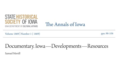 Letter by Iowa Governor Samuel Merrill