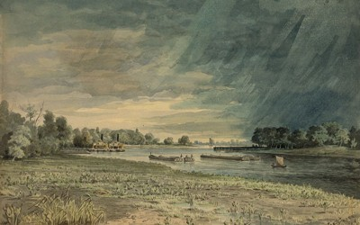 This 1858 painting shows many different types of river transportation.