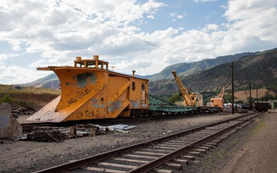 Snow plow used to clear railroad tracks of snow in the Rocky Mountains.