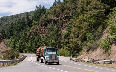 Truck and flatbed trailer piled high with logs seen driving on two-lane highway in scenic, forested area.