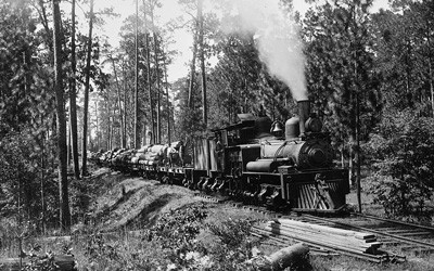 Single-engine train pulling multiple flat-bed railcars loaded with logs through scenic, wooded area.