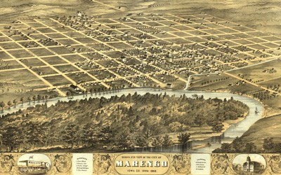 A hand-drawn, not-to-scale, bird's eye view map of Marengo, Iowa.