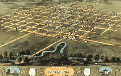 A hand-drawn, not-to-scale, bird's eye view map of Marshalltown, Iowa.