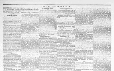 Newspaper article from the Anti-Slavery bugle that reports the number of escaped slaves in northern cities.