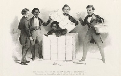 """The illustration shows a somewhat comic yet sympathetic portrayal of the culminating episode in the flight of slave Henry """"Box"""" Brown, """"who escaped from Richmond Va. in a Box 3 feet long, 2-1/2 ft. deep and 2 ft. wide."""""""