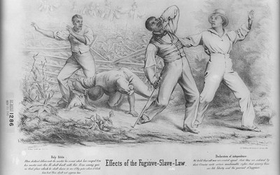 Illustration showing white fugitive slave catchers attacking and beating runaway slaves in a corn field.