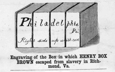 Image shows the engraving on the box that Henry Box Brown made and shipped himself to freedom in Virginia.