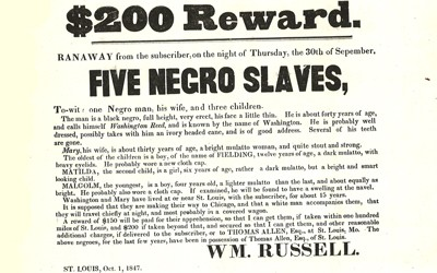 A reward poster for runaway slaves from 1847